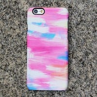 Pink and Blue Panting Phone 6s case iPhone XS Max plus Watercolor iPhone 8 SE  Case Samsung Galaxy S8 S6  Case 055