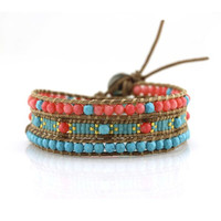 Coral and Turquoise with Miyuki Glass Seed Beads on Natural Leather