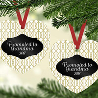 Promoted to Grandma Heart Shaped Christmas Ornament - Black, Gold, and White Christmas Ornament for Grandma - Heirloom Ornament