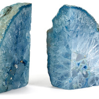 Pair of Agate Bookends, Blue, Bookends