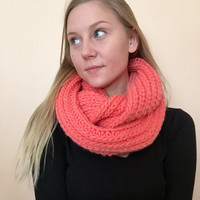 Chunky Scarf • Infinity Scarf • Fall Knit Scarf • Thick Handmade Scarf • Short Wool/Acrylic Blend • MINI STANDARD Knit •  Coral •