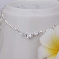 Girls Silver plated jewelry Inlay Dot sliver anklet bracelets bangles ankle on the leg SMTA 16 MP