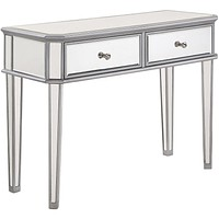 "Chamberlan 40""x16""x30"" 2-Drawer Rectangle Mirrored Console Table, Silver"