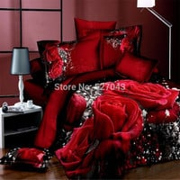 64 Type 3D Big Rose Flowers Oil Painting Bedding Set Twin/Full/Queen/King Size Bed sets Bedclothes Bed line Wedding Decoration
