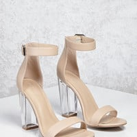 Lucite Ankle-Strap Heels