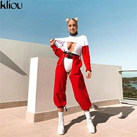 Red Ankle-Length Pants