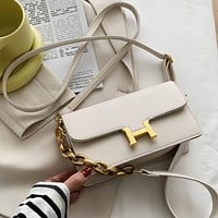 Hermes new fashion H buckle messenger bag simple and versatile small square bag