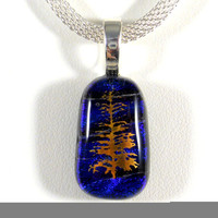 Gold Tree on Blue Dichroic Glass Pendant, Cobalt Blue Purple Fused Glass, Silver Chain Necklace