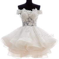Sweetheart ball gown short lace white prom dress,homecoming dress