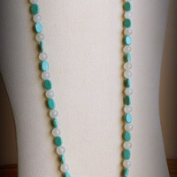 Quartz and Amazonite Necklace, Sterling Silver Clasp, Smokeylady54