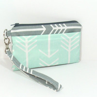 Mint Arrow Clutch, Gray Arrow Clutch, Mint and Gray, Clutch for Phone, Mint Wristlet, Wristlet Wallet, Cell Phone Wallet, Phone Wristlet