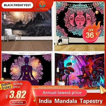 India Mandala Tapestry Wall Hanging Sun Moon Tarot Wall Tapestry Wall Carpet Psychedelic Tapiz Witchcraft Wall Cloth Tapestries