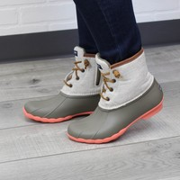 Sperry Saltwater Taupe and Natural Hemp Duckboot