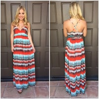 Electric Waves Maxi Dress