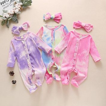 Newborn Clothes Baby Girls Romper Tie Dye Print Cotton Long Sleeve Jumpsuit and Headband Infant 2Pcs Clothing Set for Girls D30