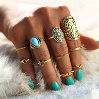 Beagloer Finger Ring With 10pcs/Sets Gold Color Ring Sets For Women Beach Fashion Boho Rings Jewelry For Party Gift S010030-C