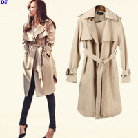 Spring Trench Coat For Women 2016 Fashion Women Raincoat With Belt Plus Size Slim Outwear Women Coat Top Quality Outfits Cape XL