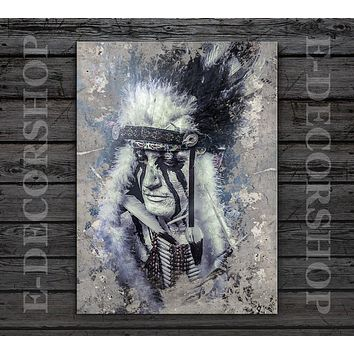 Art Print Canvas American Indian Canvas ART Print Native American Chief Canvas Painting