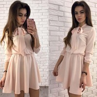 Ermonn 2017 New Arrive Women Dress Summer Fashion Peter pan Collar Three Quarter Casual Style A-Line Mini Dresses