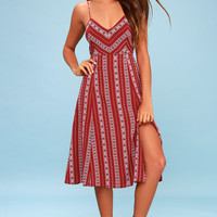 Calabash Rust Red Print Midi Dress