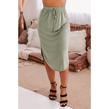 Always Faithful Solid Knit Midi Skirt (Sage)