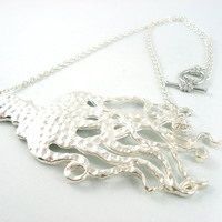 Giant Bright Silver Octopus Statement Necklace by angelyques