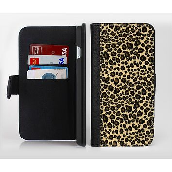 The Small Vector Cheetah Animal Print Ink-Fuzed Leather Folding Wallet Credit-Card Case for the Apple iPhone 6/6s, 6/6s Plus, 5/5s and 5c