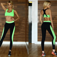 Women Sexy Sports Yoga Pants And Sports Bra Two Piece Wear Outfit a10051