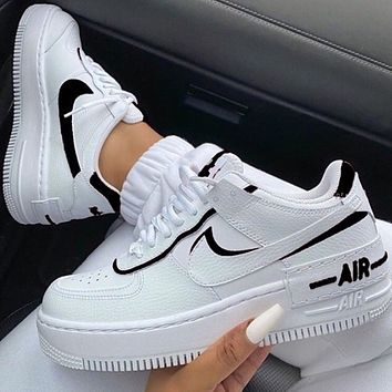 Wearwinds Nike Air Force 1 AF1 Low-Top Joker Flat Sneakers Shoes Color Add to edge Black