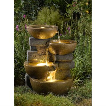 Indoor / Outdoor 4-Tier Pots Water Fountain with LED Lights