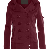 LE3NO Womens Fleece Double Breasted Bomber Coat with Hood