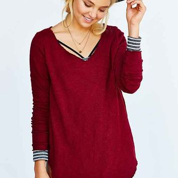 Truly Madly Deeply Textured V-Neck Tunic Top-