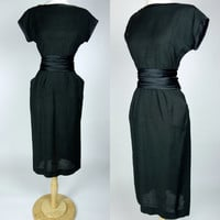 1950s black linen dress, short sleeve wiggle dress w satin trim and ruched belted waist, Henry Rosenfeld, cocktail little black dress, small