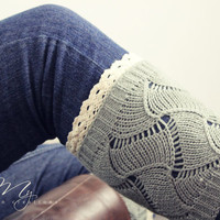 Knit Lace Boot Cuffs, Boot Cuffs, Lace Boot Socks, Open Knit Legwarmers, Light Grey Boot Cuffs, Knitted Boot Cuffs, Gift for her