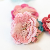 Hand Knit Flowers Hair Clip for Baby Toddler Kids, Girl Hair Accessories as Holiday Gift Christmas Stocking Stuffing