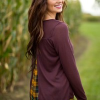 Plaid Layers Top in Plum