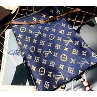 LV 2019 new women's long silk scarf blue