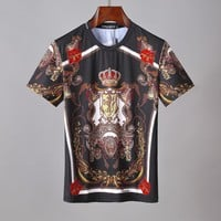D&G Dolce & Gabbana Men Fashion Black T-Shirt Top Tee