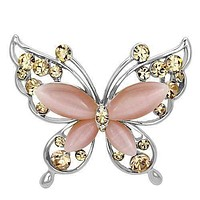 Hair Brooch LO2805 Imitation Rhodium White Metal Brooches with Synthetic