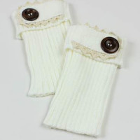 Lace Fold Over Button Knit Boot Cuffs