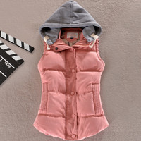 Women Cotton Warm Wool Collar Hooded Down Vest Jacket Outerwear