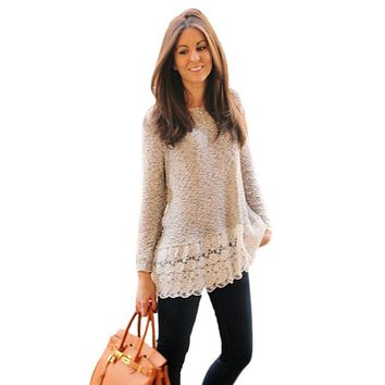 Long Sleeve Knit Lace Casual Top