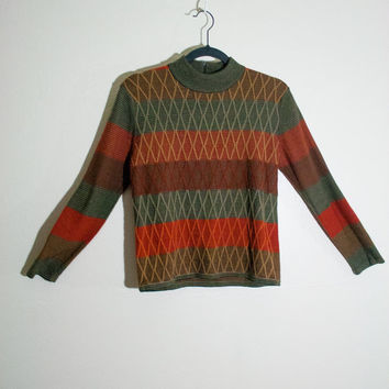 90s orange red green high collar sweater, 3/4 sleeve 1990s hipster fashion, vintage top argyle wool