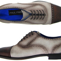 Paul Parkman Oxford Style Men's Dress Shoes Beige & Brown Leather Upper with Leather Sole