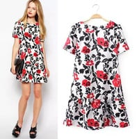 Summer Vintage Slim Abstract Print Short Sleeve Leaf Skirt One Piece Dress [4914968132]