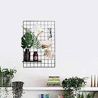 """Wire Grid Panel, Multifunction Photo Wall Decor Dispaly Vinyl Dipped Organizer for Home Decor Dorm Decoration 25.6"""" x 17.7"""" Pack of 2 Black (Black)"""