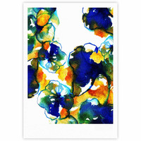 "Sonal Nathwani ""Blue Orange Floral"" Abstract Watercolor Fine Art Gallery Print"