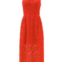 Cynthia Rowley Cherry Red Lace Halter Dress