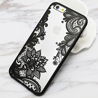 Sexy Lace Floral Paisley Flower Mandala Henna Clear Case For iphone 6 6S Plus 6Plus Phone Cases Fashion Cartoon Capa Back Cover