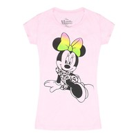 Disney Minnie Mouse Colorful Bow Graphic Printed Junior T-shirt, Pink